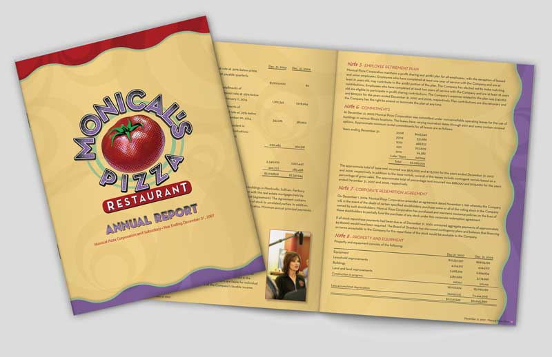 annual report layout for Monicals