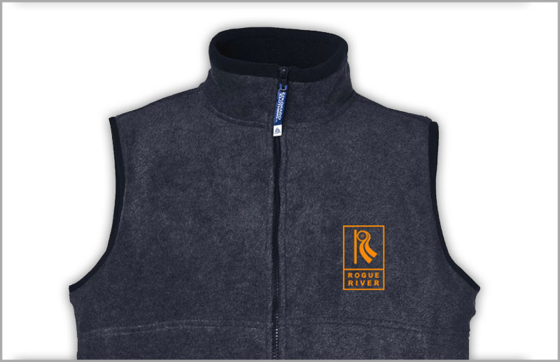 embroidered fleece vest for rogue