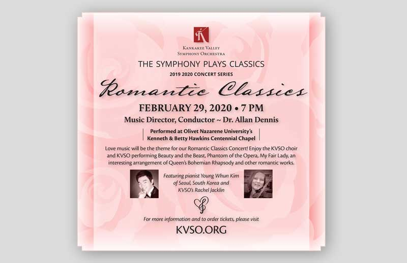 concert newspaper ad design for kvso romantic concert