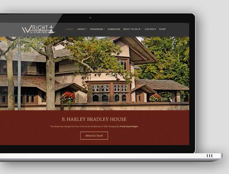wordpress web design - Wright in Kankakee homepage image