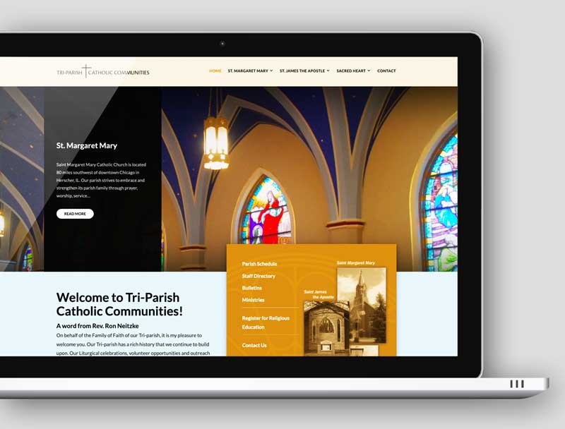wordpress web design - Triparish homepage image